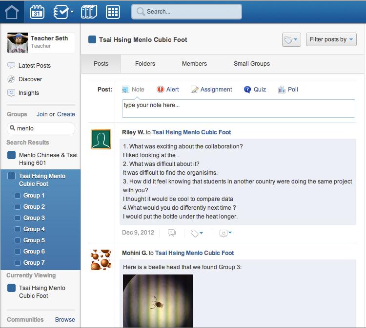 Menlo & Tsai Hsing's Edmodo Page