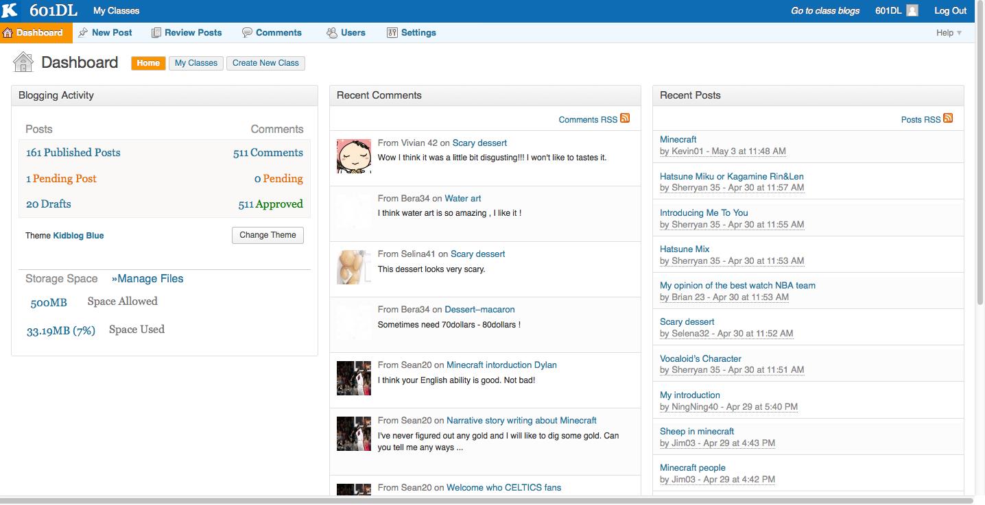 Kidblog teacher interface.