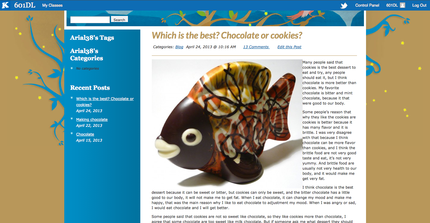 Arial argues that between chocolate and cookies, chocolate is better.