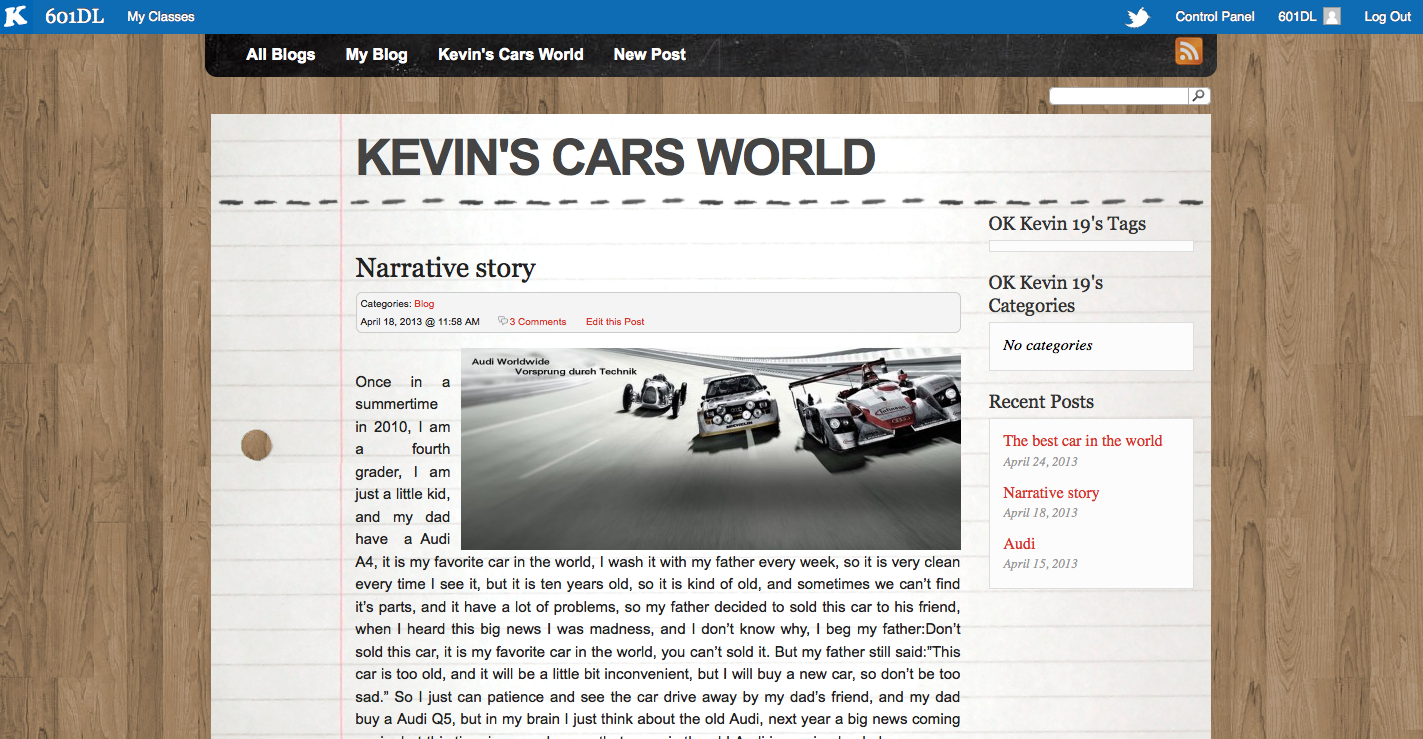 Screen shot of Kevin's blog about cars.
