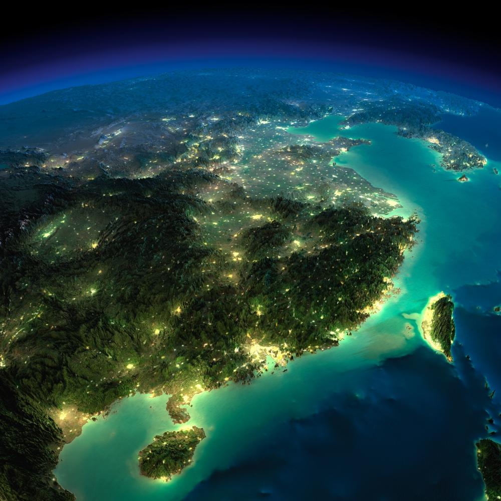 Aerial view of Taiwan at night.
